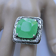 Ring Sterling Silver  Lab Green Jadeite