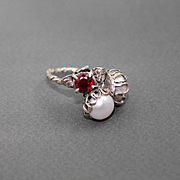 Ring Sterling Silver  Garnet  Pearls