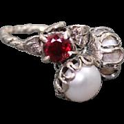 Ring Sterling Silver  Garnet  Pearls