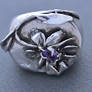 Ring Sterling Silver  Lilac  NATURAL KUNZITE