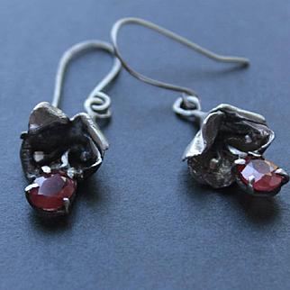 Earrings  Oxidized Sterling Silver Facet Natural  Cornelian