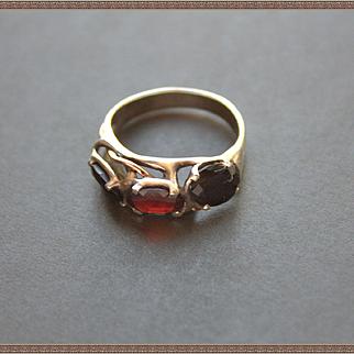 Ring Sterling Silver 10 K. Gold  Two Facet Onyx  Garnet
