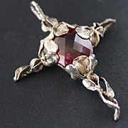 Sterling Silver Cross Pink Topaz colour  Quartz