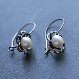 Earrings  Oxidized Sterling Pearls  free shipping