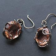 Earrings  Oxidized Sterling Silver  Peach Pink Morganite Color Quartz
