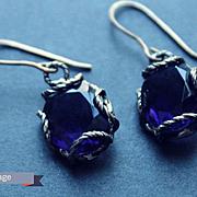 Earrings  Oxidized Sterling Silver Color amethyst quartz