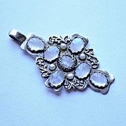 Sterling Silver  Cross Moonstones Pearls