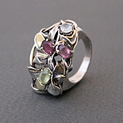 Sterling Silver  Ring 14 K. Gold Ring Mix Facet Tourmalines Ring
