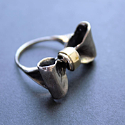 Oxidized Sterling Silver Ring 14 K. Gold Ring