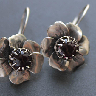 Sterling Silver Earrings Garnet Earrings