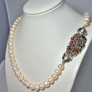 Pearls Cultured Necklace Sterling Silver Pendant Mix Lab. Sapphires