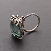 Sterling Silver Ring Green Amethyst Ring