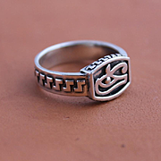 Mens Ring Sterling Silver Hanmade Epatage Studio Ring Eye of Horus