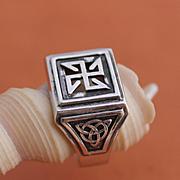 Handmade Mens Ring Hand-sculpted Ring Sterling Silver Ring Viking Ring