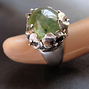 Sterling Silver Ring Natural Oval Cabochon Green Prehnite