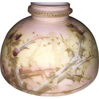 Antique Crown Milano Mt Washington Floral hand painted Oil Lamp shade nice!