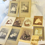 Great grouping lot of 11 antique child girl boy infant baby cabinet photo lot