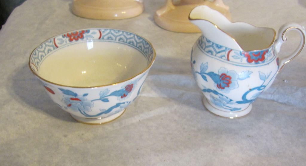 Tuscan Bone china creamer and sugar vintage blue floral stunning