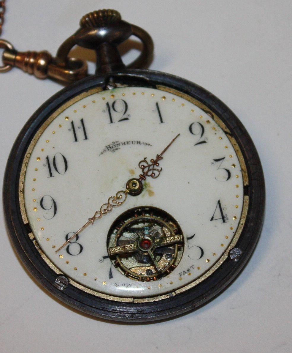 BonHeur rare Swiss  pocket watch w Bates and Bacon Fob
