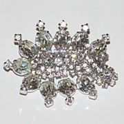 Rhinestone large pin brooch Kramer New York vintage