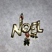 Noel gold tone vintage pin brooch holiday Christmas