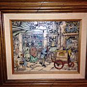 Anton Pieck cultured marble engraved print framed!