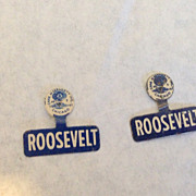2 Franklin D Roosevelt metal tab lapel political campaign