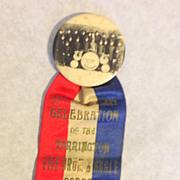 Torrington CT 1931 celebration Fife drum Bugle corps pin back ribbon button photo