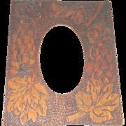 Flemish Art Frame grape leaf for oval picture vintage pyrography