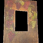 Flemish Art pyrography grape design vintage frame nice!