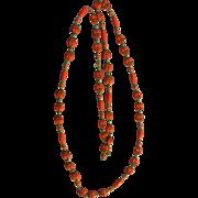 Max Neiger Czechoslovakia Egyptian Revival Orange beaded necklace!