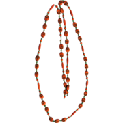 Max Neiger Czechoslovakia Egyptian Revival Orange beaded necklace!