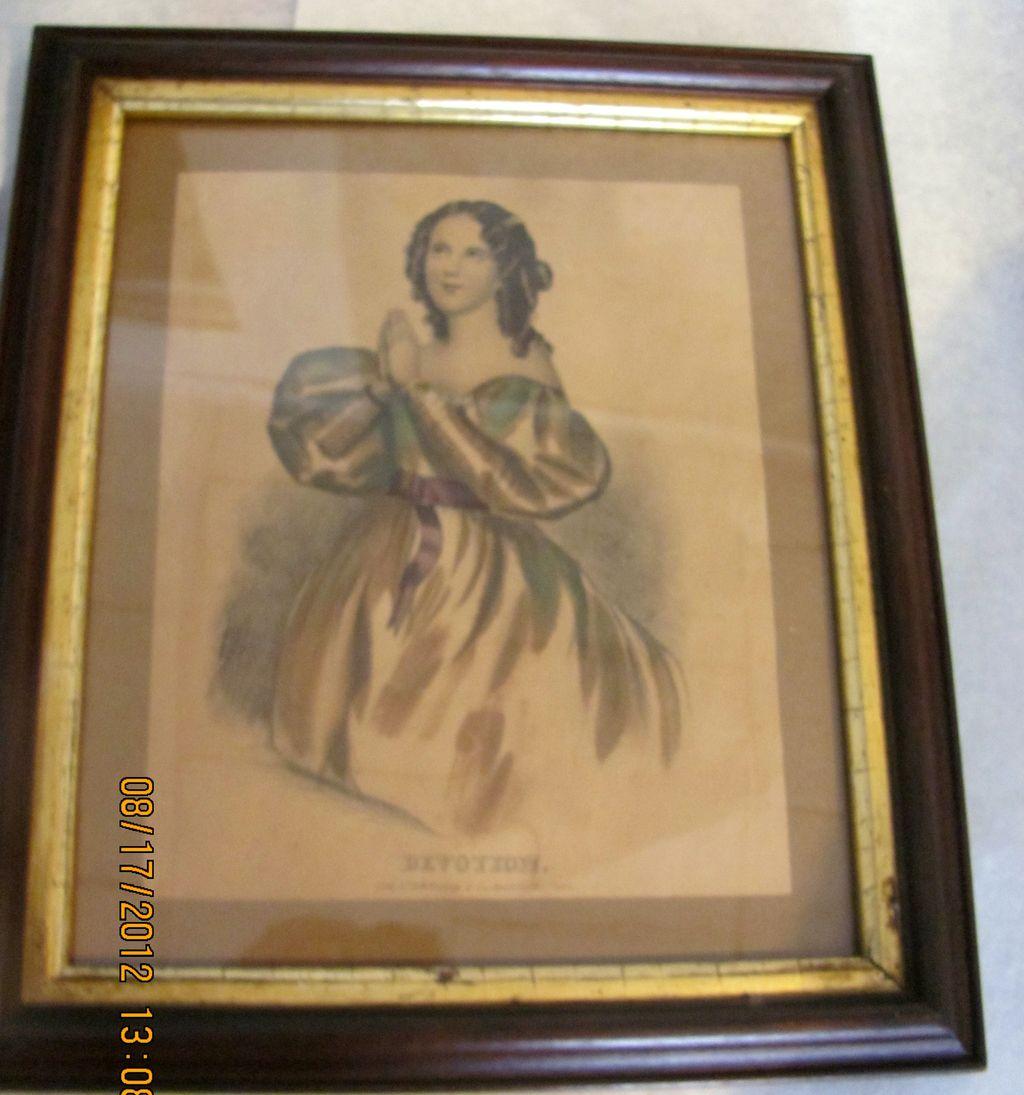 Super framed Kellogg Hartford ct Devotion antique lithograph women praying!