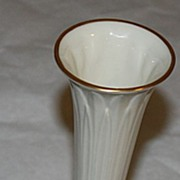 "Super white lenox 9"" tall bud base gold trim"