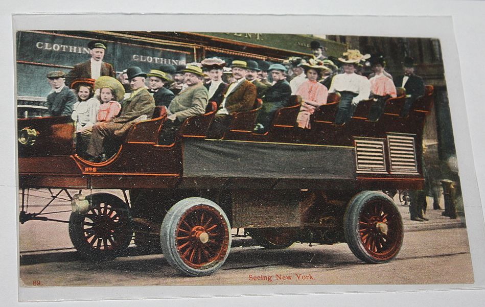 Sight Seeing bus open top Tour bus vehicle New York City NY postcard