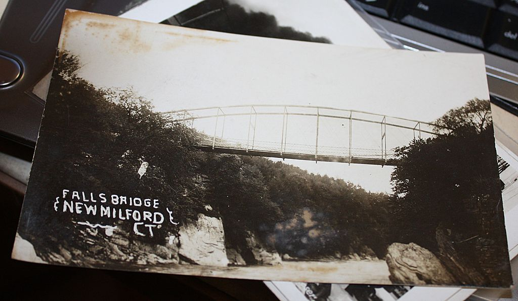 Rare Real photo New Milford Ct Connecticut Falls bridge postcard