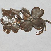 Sterling silver JEC floral flower pin brooch vintage