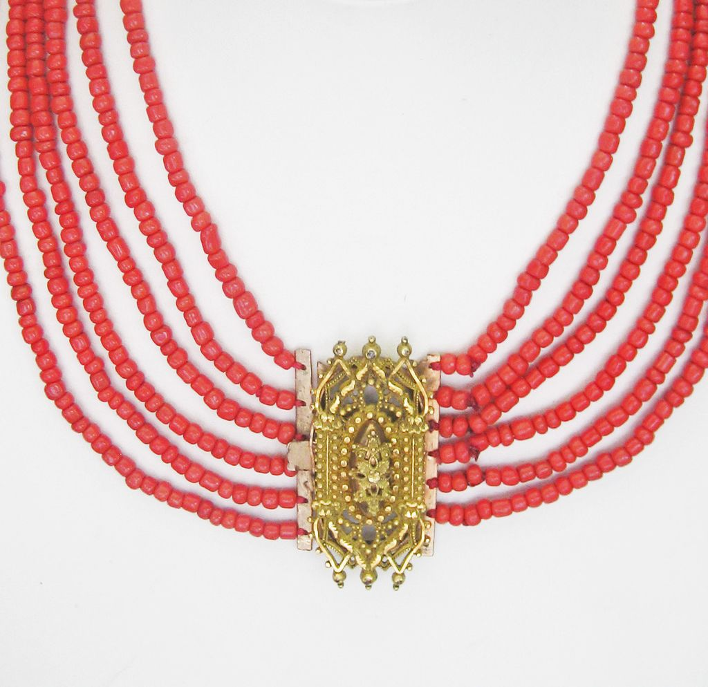 SOLD..Antique Georgian Pinchbeck and Six (6) Strand Coral Necklace