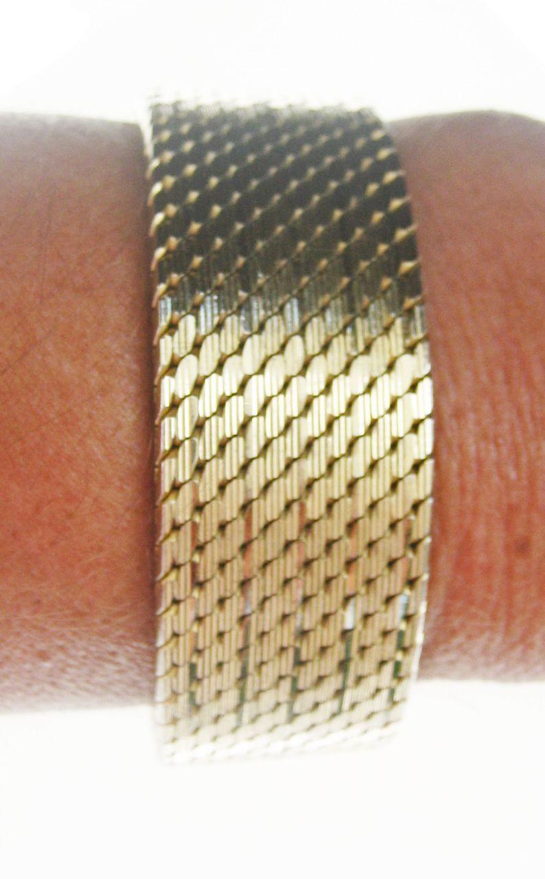 SOLD. Vintage Heavy 18 kt Gold Plated Italian Flexible Mesh Bracelet