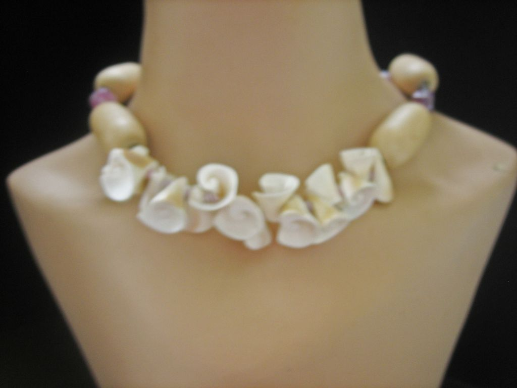 Vintage Miriam Haskell Porcelain Shell, Wood and Glass Bead Necklace