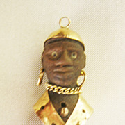 Vintage 18 kt Gold And Ebony Blackamoor Charm Pendant