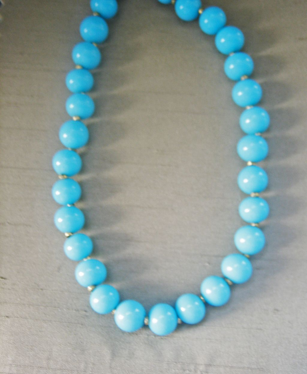 Vintage Miriam Haskell Turquoise Glass Bead Necklace