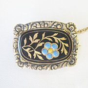 .Antique Georgian Enamel Solid 14 kt Gold Forget Me Not Flower Pin