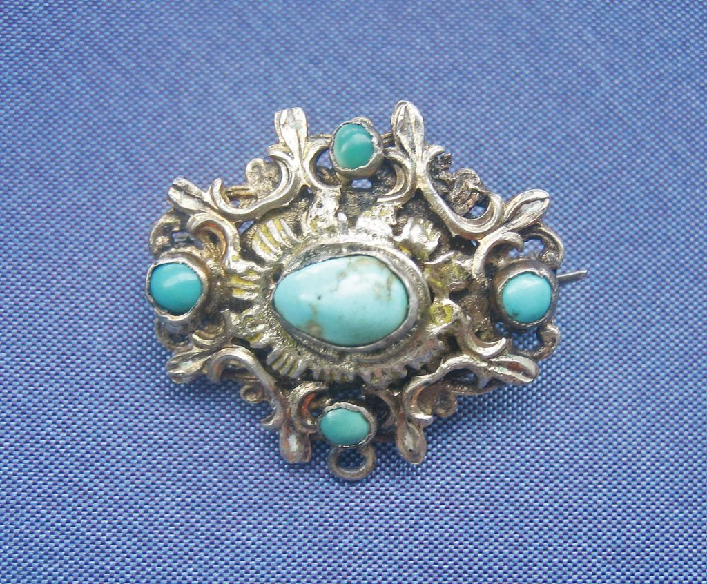 Antique Georgian Sterling Silver and PersianTurquoise Pin Pendant