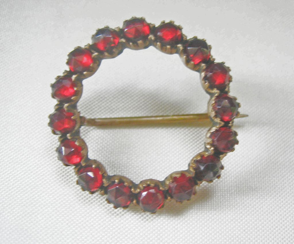 CLEARANCE...Antique Late Georgian Early Victorian Bohemian Rose Cut Garnet Circle Pin
