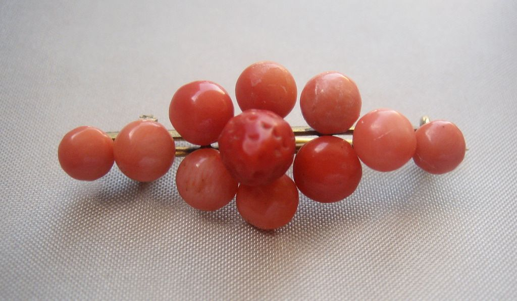 Antique Victorian Coral Gold Filled Pin Brooch