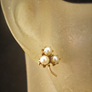 THANKSGIVING...Antique Victorian 10 kt Natural Pearl Earrings