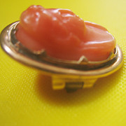..Antique Deeply Craved Georgian Coral Cameo Pin