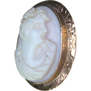Antique Edwardian Rose Gold 10 kt Cameo Pin Brooch