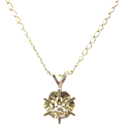 Vintage 14 kt Starburst Diamond Necklace